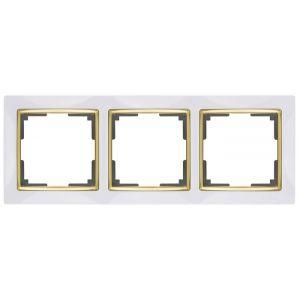 Рамка для двойной розетки Werkel WL03-Frame-01-DBL- white-GD (белый/золото)