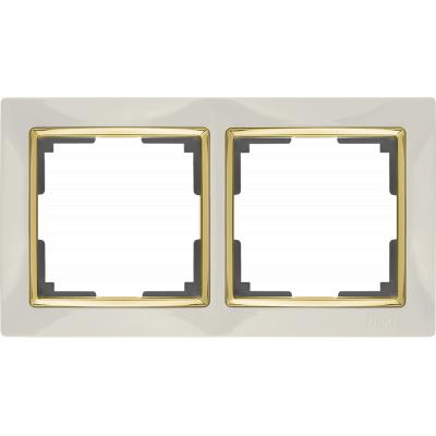 Рамка на 2 поста Werkel WL03-Frame-02-ivory-GD (слоновая кость/золото)