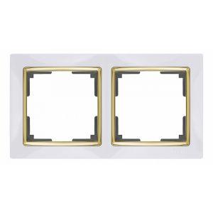 Рамка на 2 поста Werkel WL03-Frame-02-white-GD (белый/золото)
