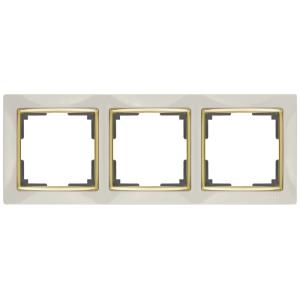 Рамка на 3 поста Werkel WL03-Frame-03-ivory-GD (слоновая кость/золото)(Распродажа)