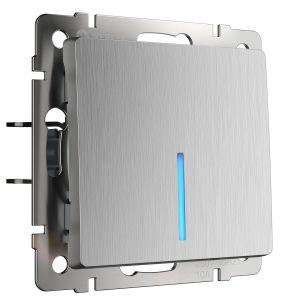 Выключатель одноклавишный с подсветкой Werkel (серебряный рифленый) WL09-SW-1G-LED