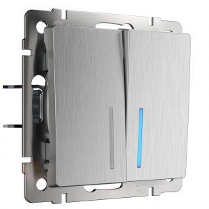 Выключатель двухклавишный с подсветкой Werkel (серебряный рифленый) WL09-SW-2G-LED