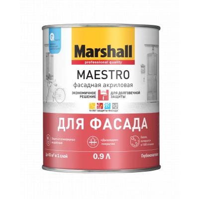 Краска Marshall Maestro Фасадная акриловая глубокоматовая BW 0,9л