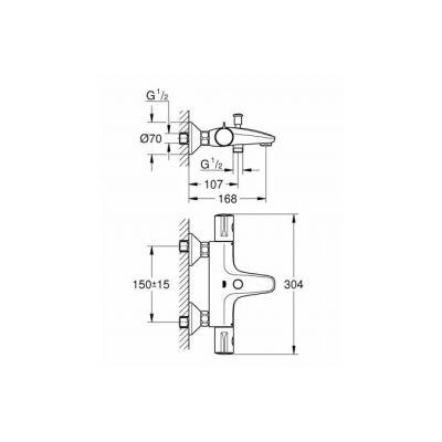 Смеситель термостатический для ванны GROHE 34567000 Grohtherm 800