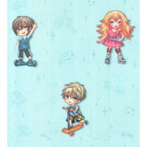 Обои Гомельобои Джуниор 0105-71 бумажные дуплекс 0,53х10,05м голубой