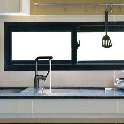 Смеситель для кухни Lemark URSUS LM7205BL, с высоким поворотным изливом, черный