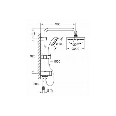 Душевая система Grohe 26452001 Tempesta NEW 200