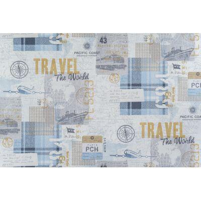 Обои OVK Design Тревел 10516-03 виниловые на флизелине 1,06x10,05м голубой