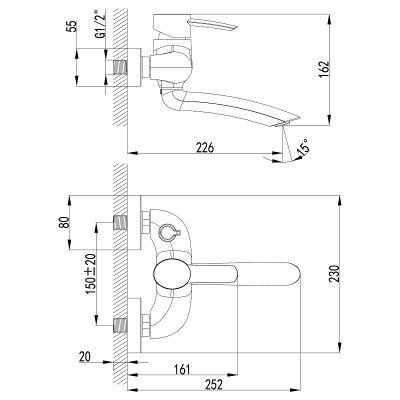 Смеситель для ванны Lemark LM3214C Atlantiss, хром