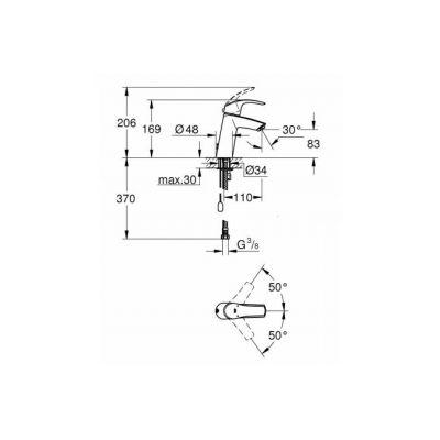 Смеситель для раковины Grohe 23323001 Eurosmart, хром