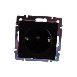 Розетка с заземлением и шторками Werkel WL08-SKGS-01-IP44 (черный матовый) (W1171108)