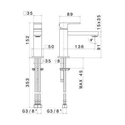 Смеситель для раковины KERAMA MARAZZI FUTURA хром 66411КМ.21.018