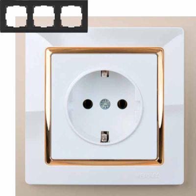 Рамка на 3 поста Werkel WL03-Frame-03-white-GD (белый/золото)