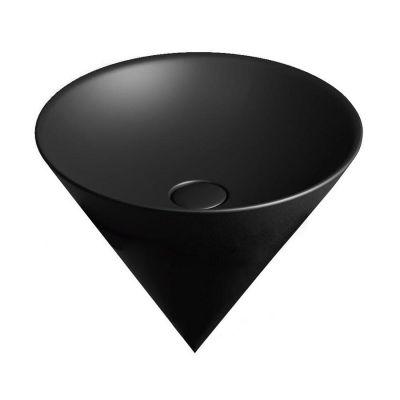 Раковина Kerama Marazzi Cono CO.wbi 44\BLK.M с бортиком, встраиваемая сверху черная