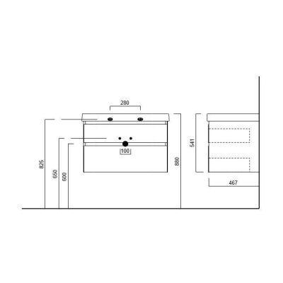 Тумба Kerama Marazzi Cubo CU.80/WHT, белая, подвесная 2 ящика