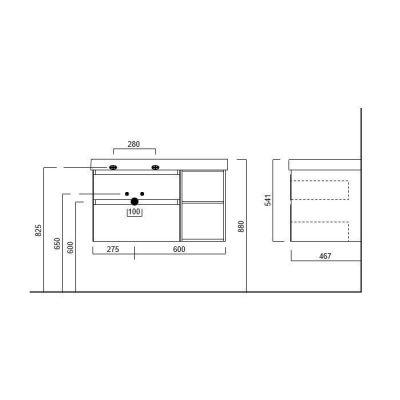 Тумба Kerama Marazzi Cubo  CU.90Lh\WHT подвесная, белый+ментс, 2 ящика+открытые,левая, без раковины