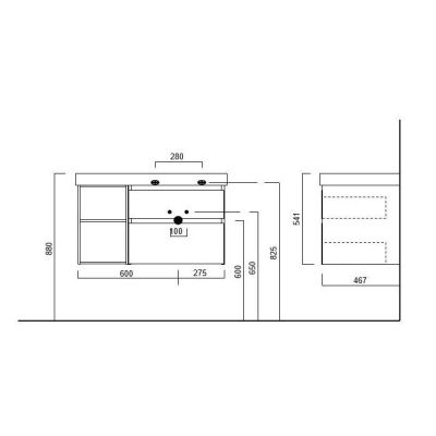 Тумба Kerama Marazzi Cubo  CU.90Rh\WHT подвесная, белый+ментс, 2 ящика+открытые,  правая