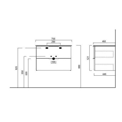 Тумба Kerama Marazzi PIANO PI.75/WHT, подвесная белая 2 ящика