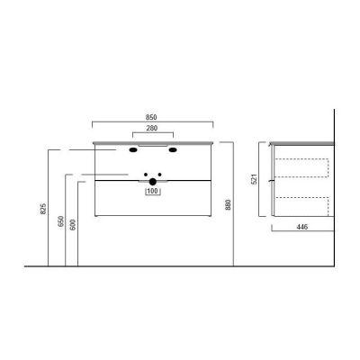 Тумба Kerama Marazzi PIANO PI.85/WHT, подвесная белая 2 ящика